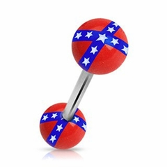 Tongue Body Jewelry - Rebel Confederate Flag Barbell