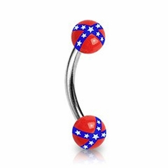 Eyebrow Body Jewelry - Rebel Confederate Flag Eyebrow Curve Ring