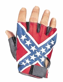 Rebel Confederate Flag Fingerless Biker Leather Gloves