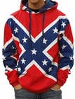Confederate Rebel Flag All Over Adult Hooded Sweatshirt