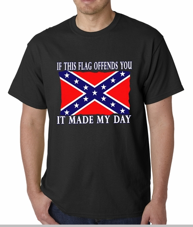 Confederate Flag Tshirt - If This Flag Offends You It Made My Day T-Shirt <!-- Click to Enlarge-->