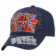 Rebel Pride Confederate Flag Embroidered Adujstable Hat (Navy Blue)
