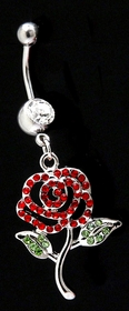 Navel Body Jewlery - Red Rose Belly Button Rings