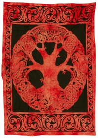 Red Tie Dye Celtic Tree Tapestry