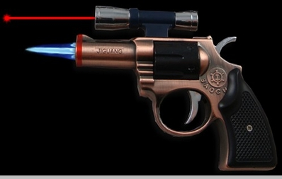 Revolver Gun Torch Lighter With Laser Pointer<!-- Click to Enlarge-->