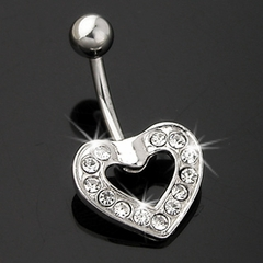 Rhinestone Heart Navel Jewelry