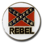 Round Rebel Flag Lapel Pin