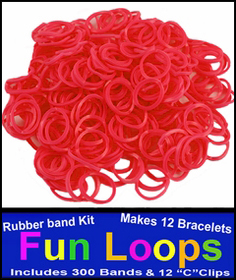 Red Rubberband Looms - 300 Fun Loop Pieces