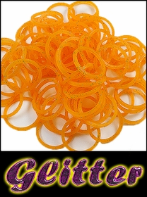 Rubberband Looms - Glitter Bands Refill Kit (100 Pieces) -Orange