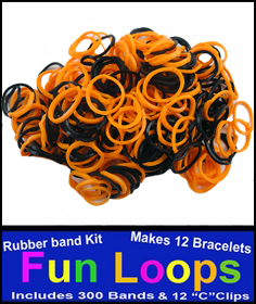 Rubberband Looms - Orange And Black 300 Fun Loop Pieces