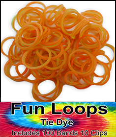 Rubberband Looms - Tie Dye Bands Refill Kit (100 Pieces) - Orange/Green