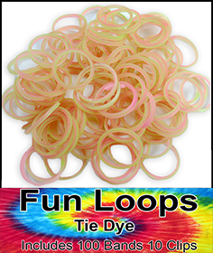Rubberband Looms - Tie Dye Bands Refill Kit (100 Pieces) - Pink/Green