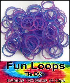 Rubberband Looms - Tie Dye Bands Refill Kit (100 Pieces) - Purple/Pink