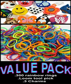 Rubberband Looms Value Pack Assorted Colors With Charms-  (300 Bands )