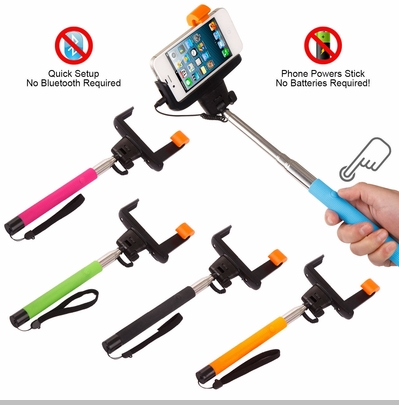 selfie stick with clicker extendable to 40 inches works with apple and android. Black Bedroom Furniture Sets. Home Design Ideas