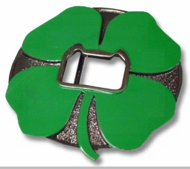 Shamrock Bottle Opener Belt Buckle With FREE Belt<!-- Click to Enlarge-->