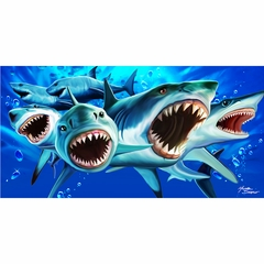 Shark Invasion! Hungry Great White Sharks Beach Towel