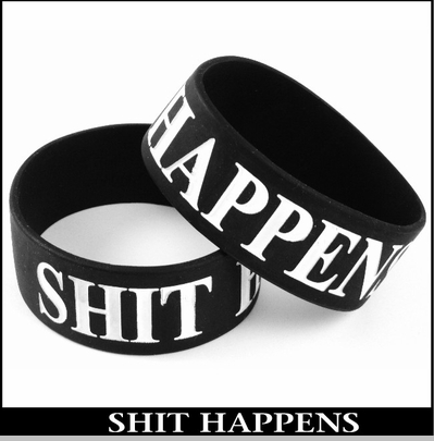 Shit Happens Designer Rubber Saying Bracelet<!-- Click to Enlarge-->