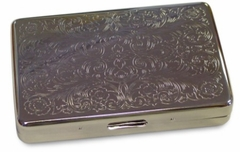 Silver Etched Floral Cigarette Case (For Regular Size & 100's)