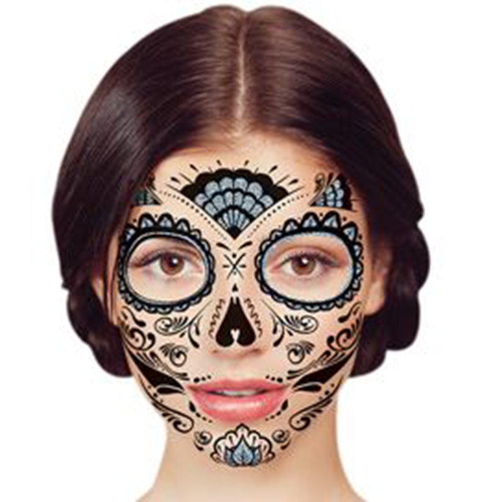 temporary face tattoo silver glitter day of the dead