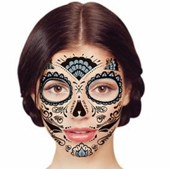 Temporary Face Tattoo - Silver Glitter Day of the Dead