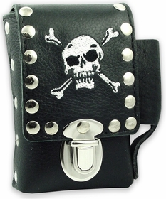 Skull & Cross Bones Leather Cigarette & Lighter Case (For Regular Size & 100's)