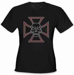 Skull Ironcross Rhinestone Girls T-Shirt