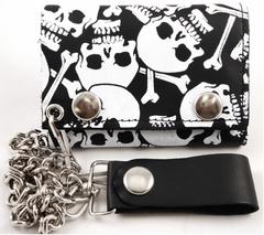 Skulls All Over Genuine Leather Chain Wallet
