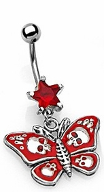 Navel Body Jewelry - Skulls & Stars Butterfly Navel Jewelry (Red)