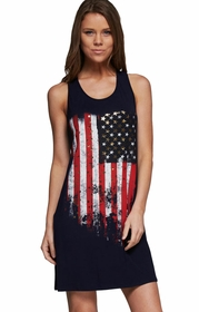 Sleeveless American Flag Print Tunic Dress (Navy Blue)