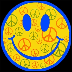 Smiley Face Peace Signs All Over Mens T-shirt