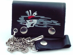 Smokin' Ace Skull Genuine Leather Chain Wallet