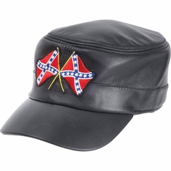 Southern Pride Rebel Confederate Flag Genuine Leather Cap