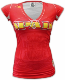 Spain Girls Pro Soccer V-Neck Jersey (Red)
