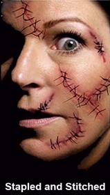 Special Effects Temporary Tattoos -  Stapled and Stitched Face Tattoo