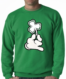 St. Patrick's Day Cartoon Hand Holding Shamrock Crewneck Sweatshirt