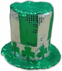 St. Patrick's Day Deluxe Sequin Shamrock Top Hat