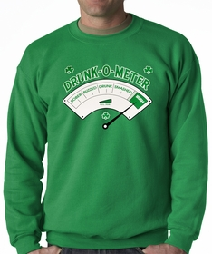 St.Patrick's Day - Irish Drunk-o-Meter Adult Crewneck