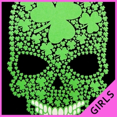 St. Patrick's Day Shamrock Sugar Skull Girl's T-Shirt