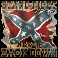 Stand, Fight and Never Back Down Confederate Rebel Flag Mens T-shirt
