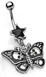 Navel Body Jewelry - Star, Skulls, & Butterfly Belly Button Ring (Black)