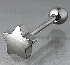 Tongue Body Jewelry - Star Top Steel Tongue Barbell