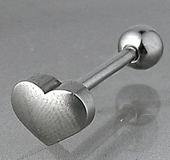 Tongue Body Jewelry - Steel Heart Top Tongue Barbell