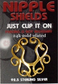 Sterling Silver Clip On Nipple Shield (Golden Tribal)