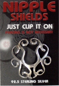 Sterling Silver Clip On Nipple Shield (Tribal)