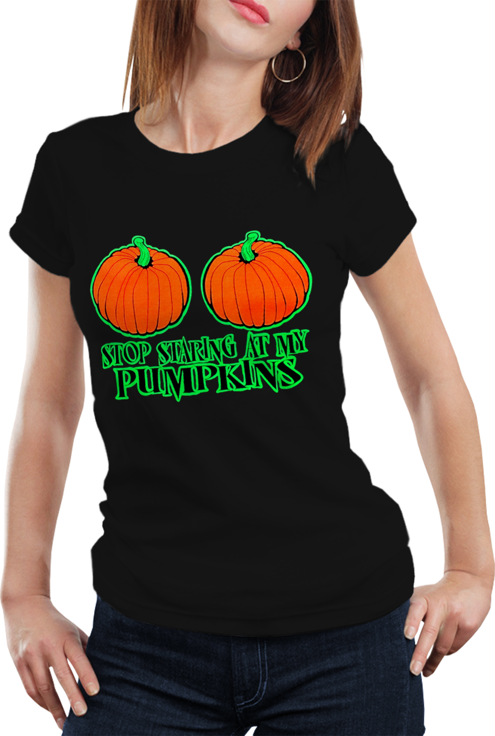 Halloween costume t shirts stop staring at my pumpkins for Costume t shirts online