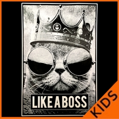Like a Boss Cat with Crown and Glasses Kids T-shirt