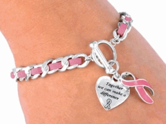 Suede Breast Cancer Awareness Bracelet