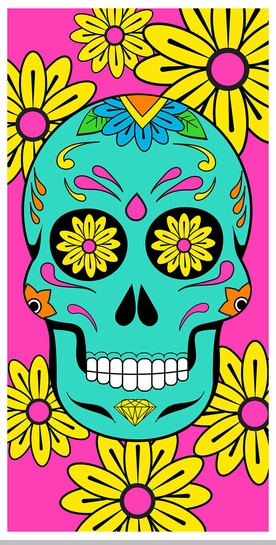 Sugar Skull Beach and Bath Towel (30 x 60 Inches)<!-- Click to Enlarge-->