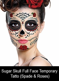 Temporary Face Tattoo - Sugar Skull (Spade & Roses)